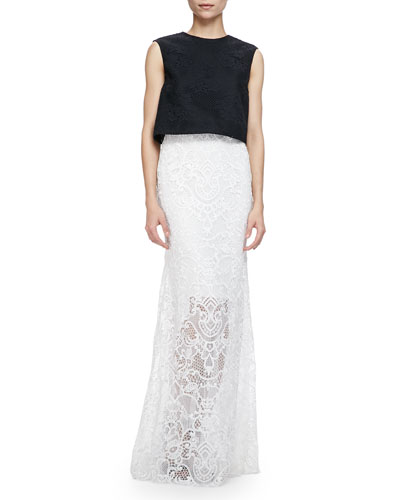 Sleeveless Floral Mesh Crop Shell & Guipure Lace Overlay Skirt