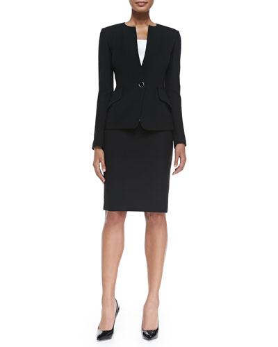 Nouveau Boucle Knit Jacket, Liquid Satin Tank & Nouveau Boucle Knit Pencil Skirt