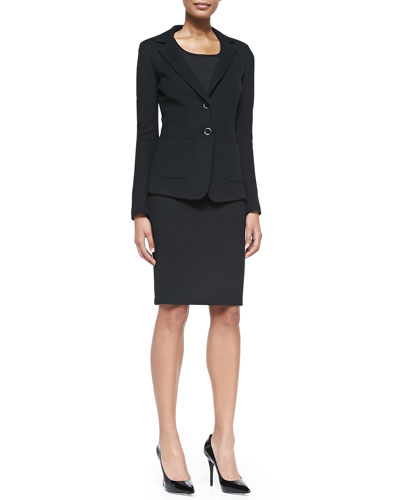Milano Pique Knit Fitted Blazer, Milano Knit Contour Tank & Milano Pique Knit Pencil Skirt