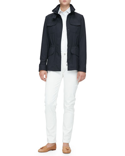 Windmate Traveler Jacket, Kara Cotton Poplin Blouse & Mathias High-Rise Straight-Leg Jeans