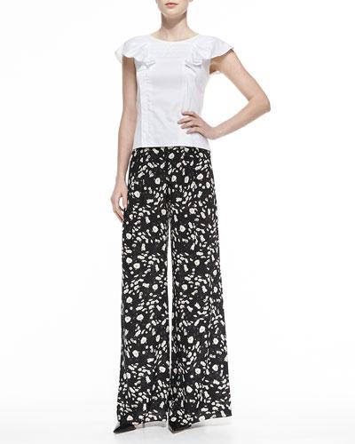 Carolina Herrera Ruffled Cap-Sleeve Poplin Blouse & Daisy-Print Wide-Leg Pants