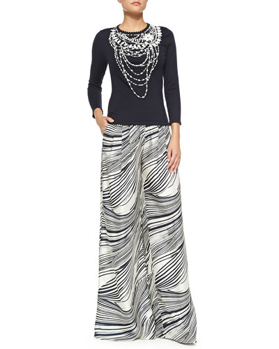Carolina Herrera Crewneck Beaded Necklace Sweater & Wave-Striped Wide-Leg Pants