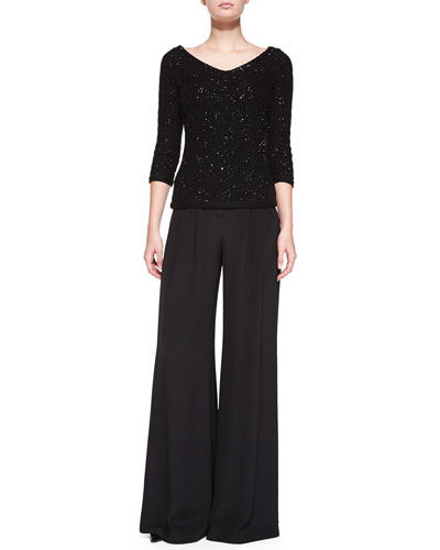 V-Neck Sequined Chevron Sweater & Wide-Leg Pants with Pleated Front