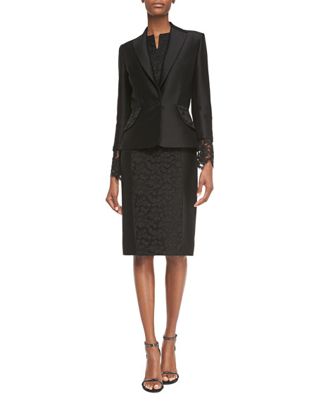 Carolina Herrera Floral-Lace Cuff Jacket, Black