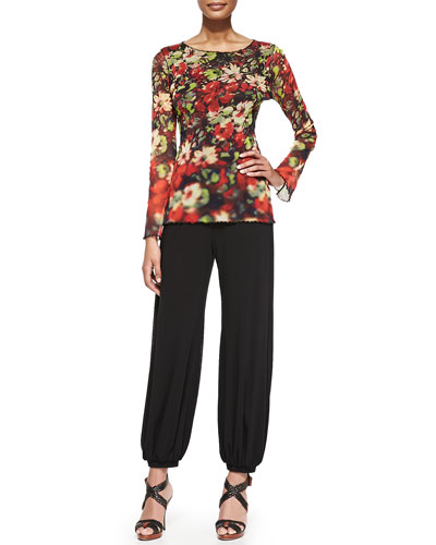 Long-Sleeve Printed Flowers Top and Tulle Genie Pants