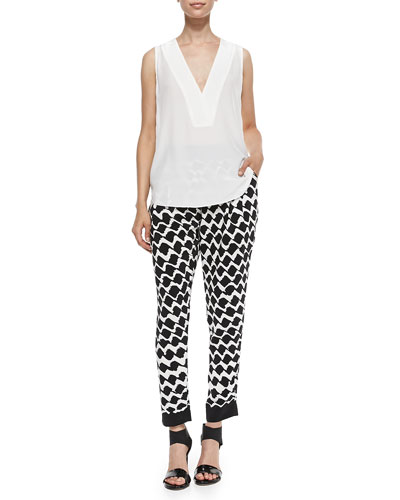 V-Neck Shell with Lace Back & Printed Track Pants