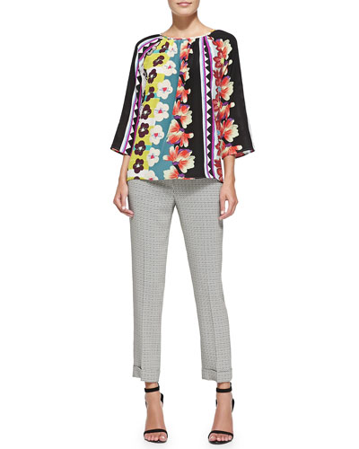3/4-Sleeve Vertical Floral/Striped Blouse & Cuffed Micro Geo-Print Capri Pants
