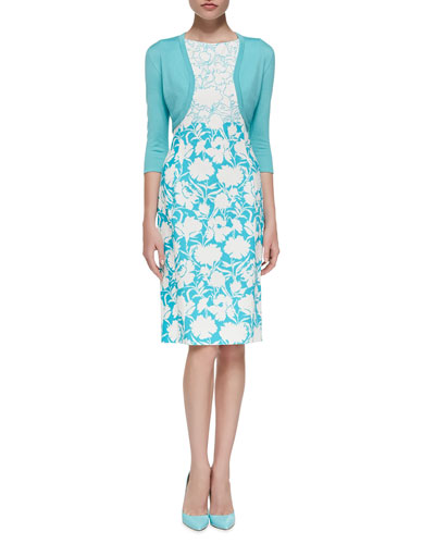 Oscar de la Renta 3/4-Sleeve Cotton-Silk Bolero Jacket & Sleeveless Two-Tone Floral Sheath Dress