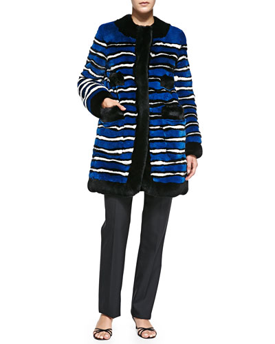 Striped Rabbit Fur Coat with Pockets & Classic Straight-Leg Pants