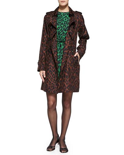 Leopard-Print Silk Trenchcoat & 3/4-Sleeve Leopard-Print Bow-Waist Sheath Dress