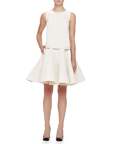 Armani Collezioni Double-Face Cady Tank Top & Seamed Double-Cady Full Skirt