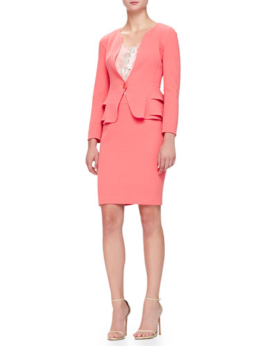 Armani Collezioni Layered-Peplum Crepe Jacket, Geometric-Print Georgette Tank & Double Crepe Pencil Skirt