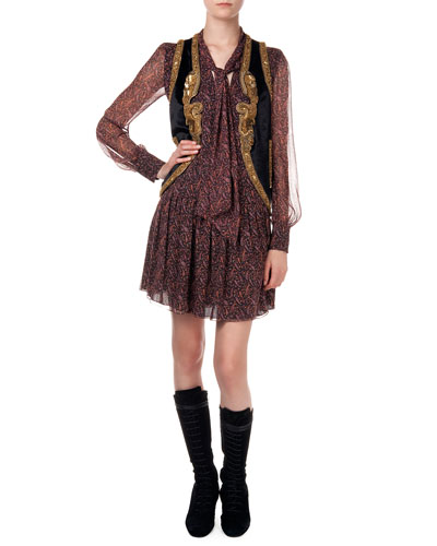 Metallic Embroidered Velvet Vest & Drop-Waist Paisley-Print Dress