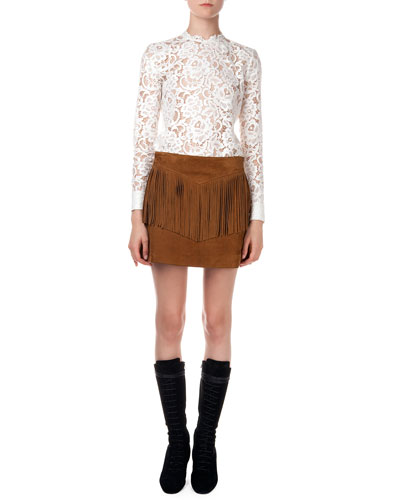 Long-Sleeve Floral Lace Top & Fringed Suede A-Line Skirt