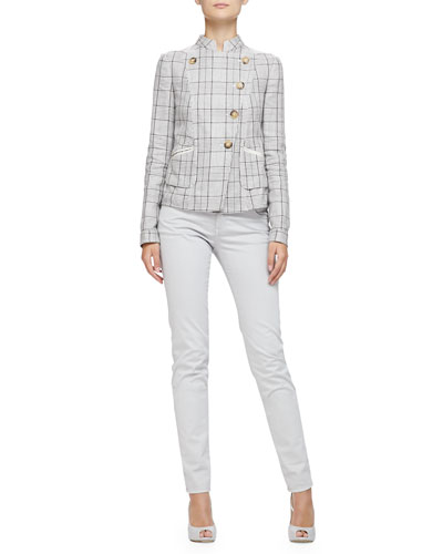 Armani Collezioni Prince of Wales Mandarin-Collared Jacket & Brushed Cotton 5-Pocket Regular Fit Jeans
