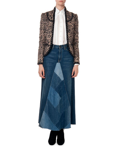 Paisley Jacket with Stud Trim, Button-Down Shirt with Pleated Detail & Denim Patchwork A-Line Skirt