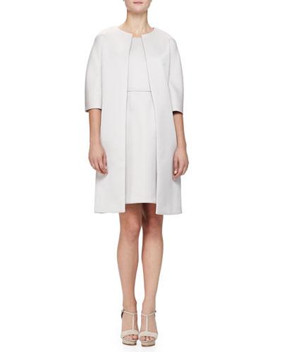 Armani Collezioni 1/2-Sleeve Glossy Cady Topper & Sleeveless Glossy Cady Dress