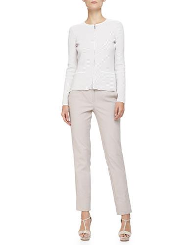 Armani Collezioni Diagonal-Striped Knit Zip-Front Jacket & Stretch Cotton Wide-Cuffed Slim Pants