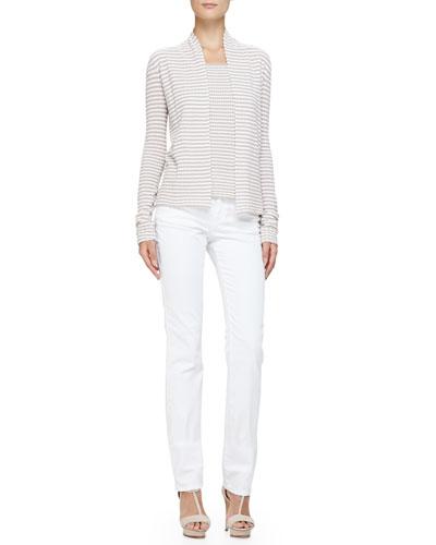 Armani Collezioni No-Closure Stripe Knit Cardigan, Cap-Sleeve Scoop-Neck Striped Top & Brushed Cotton 5-Pocket Slim Fit Jeans