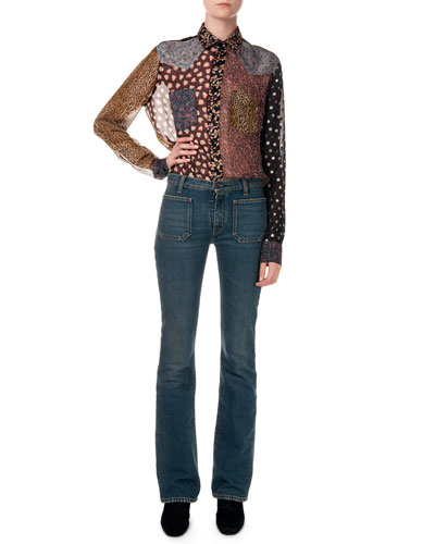 Patchwork Mixed-Print Sheer Shirt & Flared Jeans W/ Front Patch Pockets