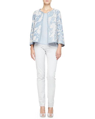 Armani Collezioni Interwoven Printed Leather Jacket, Plisse Georgette Tank & Brushed Cotton 5-Pocket Regular Fit Jeans