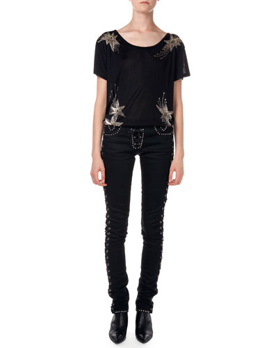 Embroidered Star Silk Tee & Studded Jeans W/ Corset Sides