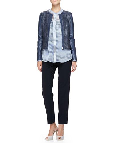 Armani Collezioni Jewel-Neck Woven Leather Jacket, Cumulus-Print Chiffon Tunic & Cropped Straight-Leg Pants