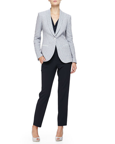 Shawl-Lapel 1-Button Boucle Jacket, Sleeveless Collared Charmeuse Blouse & Cropped Straight-Leg Pants