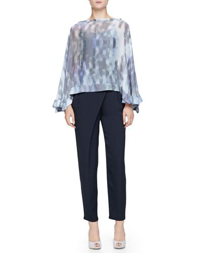 Armani Collezioni Cumulus Chiffon Print Poncho & Asymmetric-Draped Charmeuse Pants