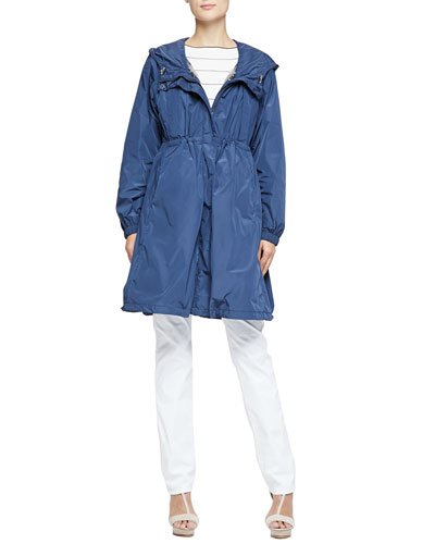 Armani Collezioni Lightweight Tech Fabric Trench Coat with Removable Vest & Short-Sleeve Boat-Neck Striped Top