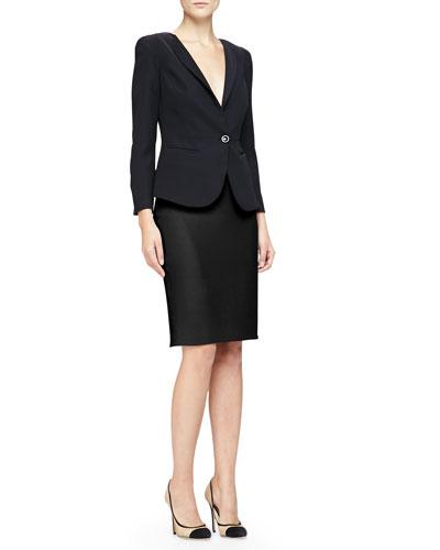 Armani Collezioni 1-Button Sheer-Back Jacket & Double Crepe Pencil Skirt