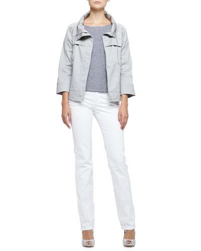 Armani Collezioni 3/4-Sleeve Short Jacket & Jersey Stripe Tee