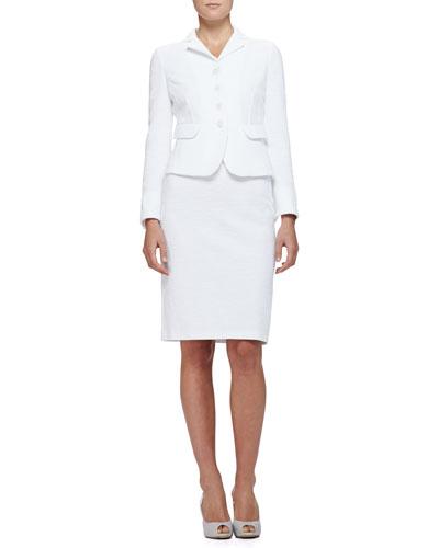 Cotton Boucle Suit Jacket & Pencil Skirt