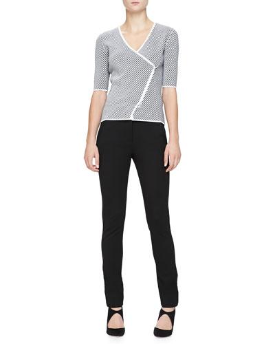 Armani Collezioni Diagonal-Striped Knit Elbow-Sleeve Jacket & Cuffed Jersey Pants