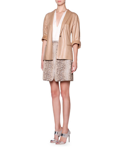 Lambskin One-Button Jacket, Silk Split-Neck Layered Blouse & Snakeskin Jacquard Skirt