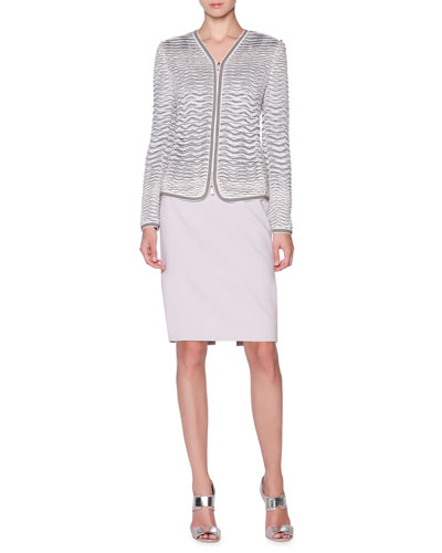 Textured Knit-Jacquard Jacket & Wool Slim Skirt