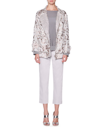 Floral Mesh Jacquard Jacket, Long-Sleeve Textured Tunic & Stretch Twill Slim-Leg Pants