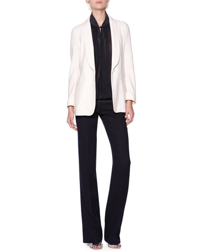 Silk/Cashmere Shawl-Collar Jacket, Knit-Trim Plisse Crepe Blouse & Wool/Silk Chevron Textured Pants