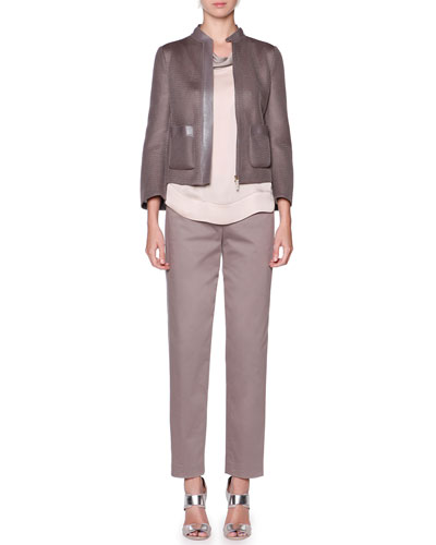 Leather-Trim Mesh Jacket, Tricolor Stitched Blouse & Polished Ankle Pants