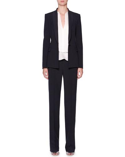 Shawl-Collar Crepe Blazer & Flat-Front Seersucker Pants