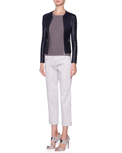 Ribbed-Lambskin Bonded-Knit Jacket & Silk Ottoman Knit Short-Sleeve Top