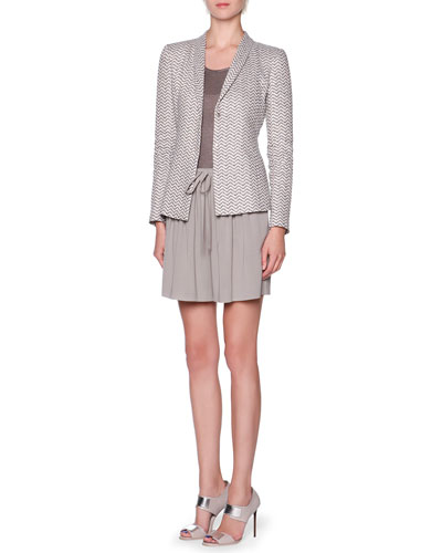 Exaggerated-Chevron Shawl-Collar Jacket, Overszied Short-Sleeve Knit Tunic & Front-Pleated Drawstring Bermuda Shorts