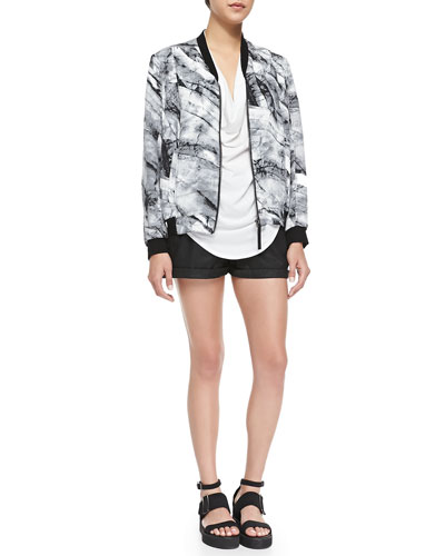 Helmut Lang Terrene Silk Marble-Print Bomber Jacket & Abrade Coated Rolled-Cuff Shorts