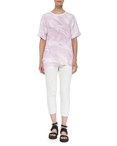 Helmut Lang Terrene Short-Sleeve Marble-Print Top & Drift Skinny Cropped Sweatpants
