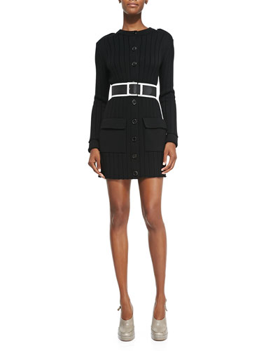 Long-Sleeve Button-Down Sweaterdress & Wide Leather Belt with Contrast Trim