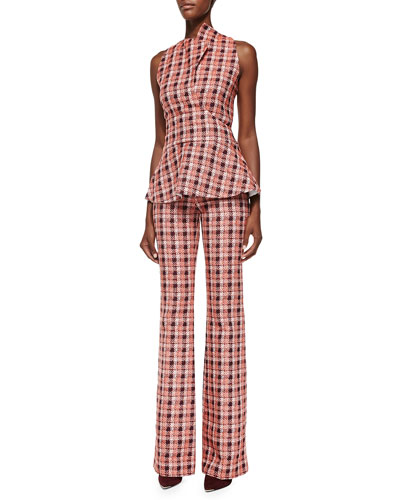 Novelty Plaid Sleeveless Peplum Top & Flare Trousers