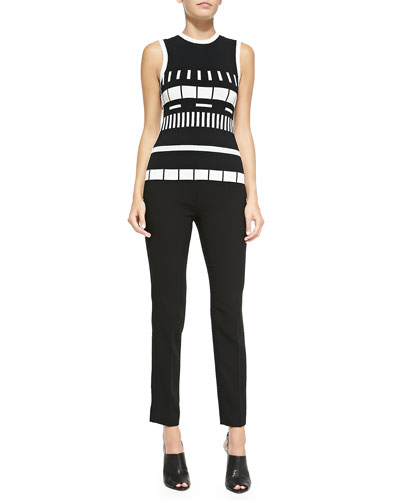 Sleeveless Reversible Graphic-Striped Top & Cropped Wool Crepe Pants