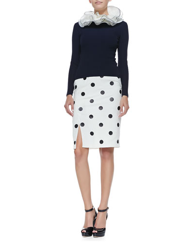 Cashmere Long-Sleeve Crewneck Sweater & Polka-Dot Skirt
