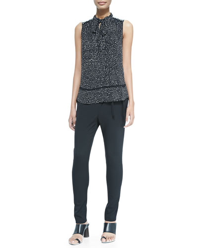 Sleeveless Tie-Neck Blouse & Asymmetric-Tie Pants