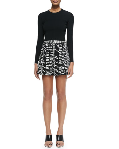 Long-Sleeve Cropped Sweater & Printed Pleated Shorts